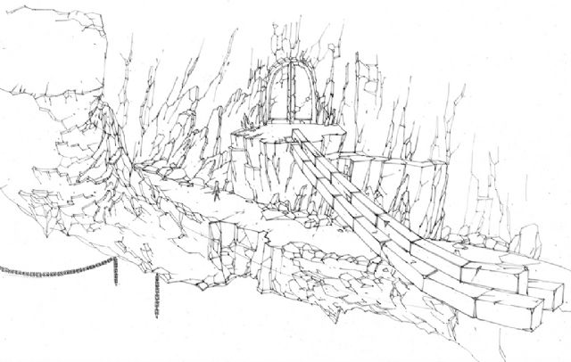建筑道路手绘线稿