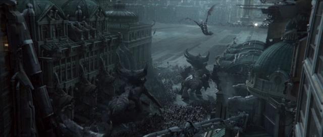 大群的虫族生物从天而降地面的陆战队员感到难以置信