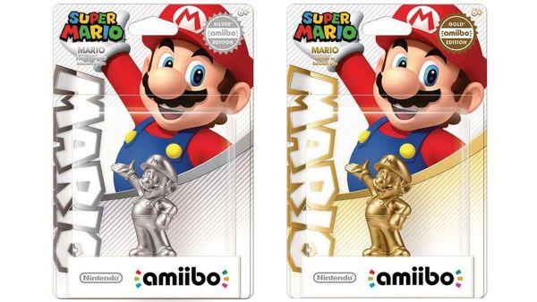 """Amiibo手办也玩起""""土豪金""""啦!据报道,任天堂将推出一对金银限定版《马里奥》Amiibo手办,是要直接出售还是作为活动奖励尚不确定。 据悉,这对金银限定版马里奥手办的图样在任天堂美国官方支持站短暂出现过,很快便被删除,有眼尖的粉丝机智地保存了下来。 虽然这对手办到底什么时候开卖,到底卖不卖还没个准儿。已经有不少的Amiibo手办收藏者开始抱怨起来,想要集齐所有Amiibo手办简直不可能,吸钱好比无底洞。 任天堂Amiibo手办目前已经推出了41款,按每个10."""