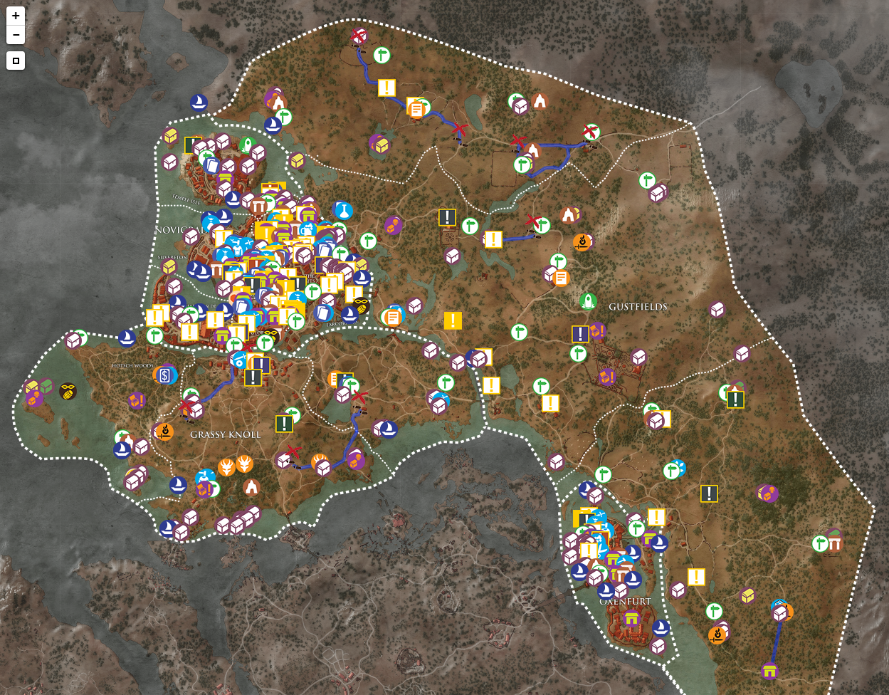 巫师3狂猎 官方高清中文标注全地图 全物品收集地图