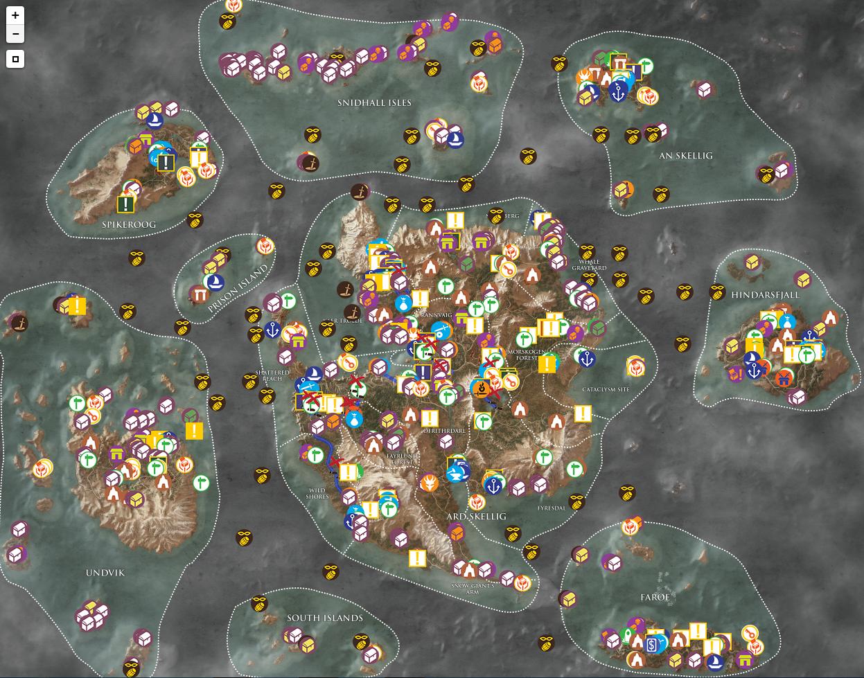 巫师3狂猎官方高清中文标注全地图全物品收集地图