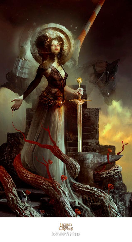 国外画师黑暗风格原画欣赏 性感赤裸妹纸腹插大剑
