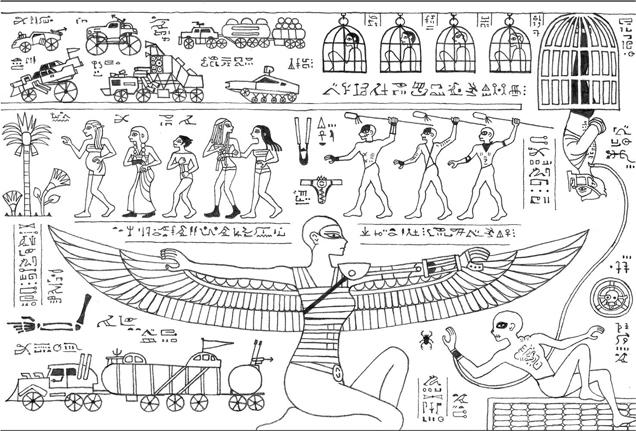 日本网友用古埃及壁画风格 手绘《疯狂的麦克斯》