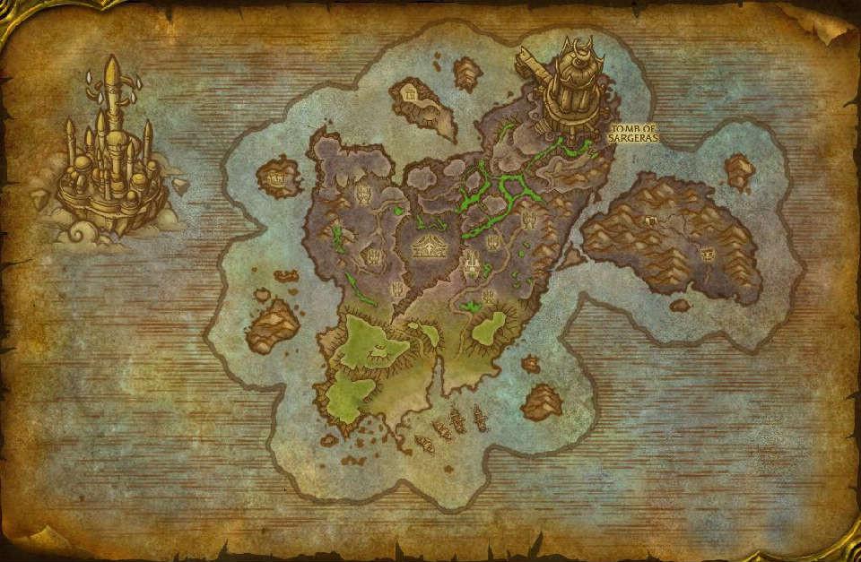 魔兽世界测试服更新:破碎群岛七大区域地图预览