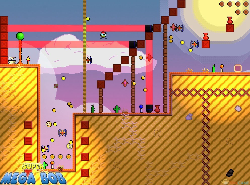 游戏名称:超级鲍勃 英文名称:Super Mega Bob 游戏类型:动作冒险类(ACT)游戏 游戏介绍 超级鲍勃是一款休闲动作类游戏,该款游戏采用了像素风格,游戏的画面十分的复古,游戏给玩家们带来了不少的挑战! 在游戏中玩家要操控鲍勃对他进行移动,在这过程中你还要收集炸弹,当前面遇到坎坷的时候你就需要利用炸弹来进行炸毁。游戏的关卡很多,玩家只有完成任务了才能解锁新的关卡。在后期游戏中将会陆续出现小boss,玩家必须要将他们打败。喜欢这款游戏的玩家们可以下载试试! 超级鲍勃评测 一款真正低幼向的游戏,介绍