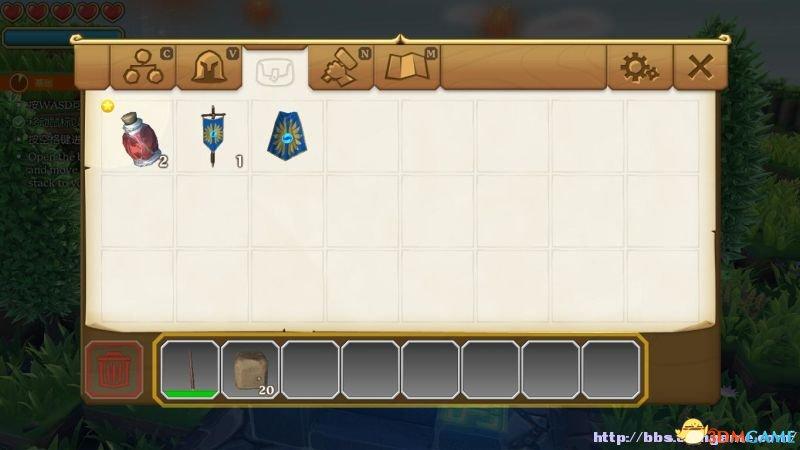 游戏界面 血量:屏幕左上角的心形就表示角色的血量,每一颗心都有其HP数字,当其归零,心形就会被击碎,失去所有心形,角色则会在着落点重生。 魔法值:蓝条为魔法值,当发动技能时会消耗,使用药水可以恢复一定的魔法值。 任务提示:在屏幕左侧会显示当前任务进度,游戏并没有任务界面,所以要了解任务进度需要时刻注意任务提示。 快捷栏:将背包栏的消耗品道具或工具、武器移至快捷栏当中,按对应的数字键位选择使用。 锁定敌人:当锁定敌人时,游戏界面会变为电影播放模式(屏幕上下方均出现黑条),而且锁定的敌人会被黄色框所标记。