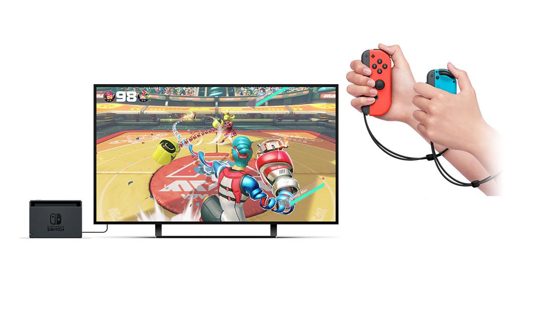 玩家可以选择不使用体感方式,仅靠手柄上的摇杆和按键游玩《arms》.