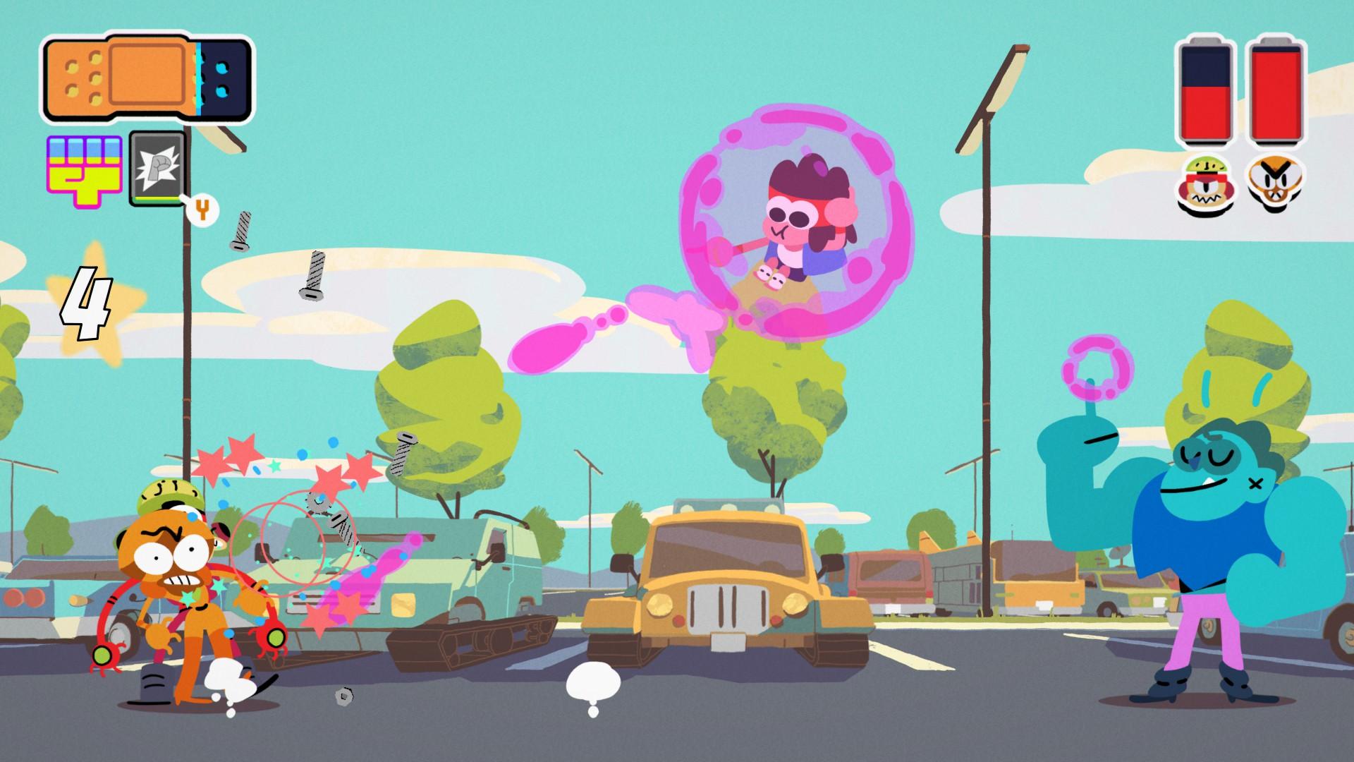 《OK K.O.!成为英雄吧(OK K.O.! Let's Play Heroes)》是一款由Capybara Games制作Cartoon Network Games发行的动作冒险类游戏,游戏根据同名人气动漫改编,该作拥有十分卡通式的画风,而玩家将扮演可爱的主角小英雄K.O.,他具备猛击、滑踢等丰富性的能力,需要在过程中挑战各种邪恶的机器人,同时还将感受一段精彩有趣的故事,并且值得一提的是大家要注重收集广场人物的卡片,以此来召唤他们来帮助战斗,超高的可玩性莫要错过了!