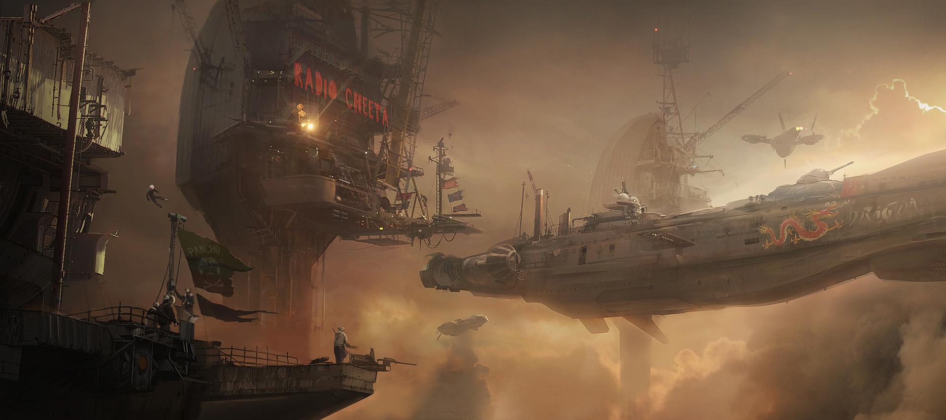 东南亚建筑风格_《超越善恶2》概念原画 蒸汽朋克风格天空之城_www.3dmgame.com